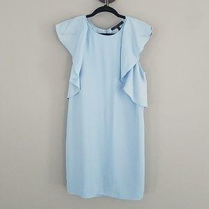 Bcbg blue dress flutter sleeve